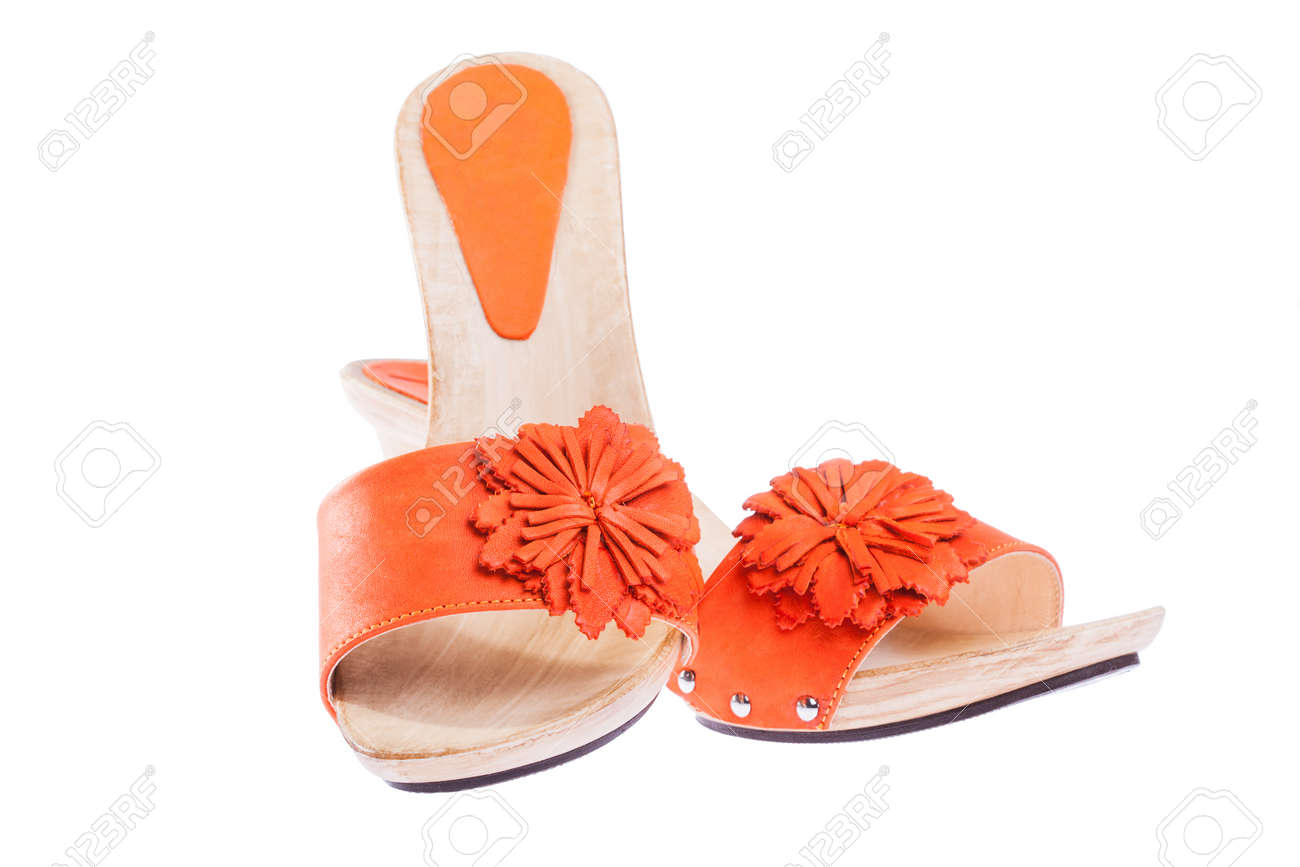 stylish woman's opened clogs shoes isolated Stock Photo - 13544804