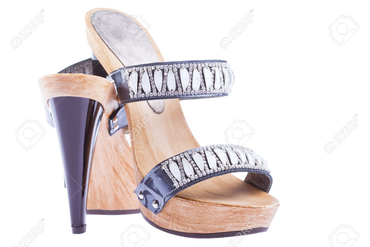 stylish woman's opened clogs shoes isolated Stock Photo - 13540223