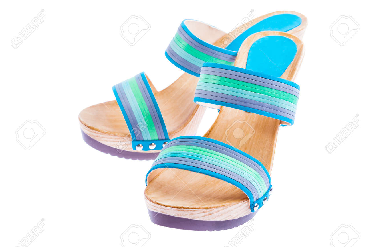 stylish woman's opened clogs shoes isolated Stock Photo - 13929293