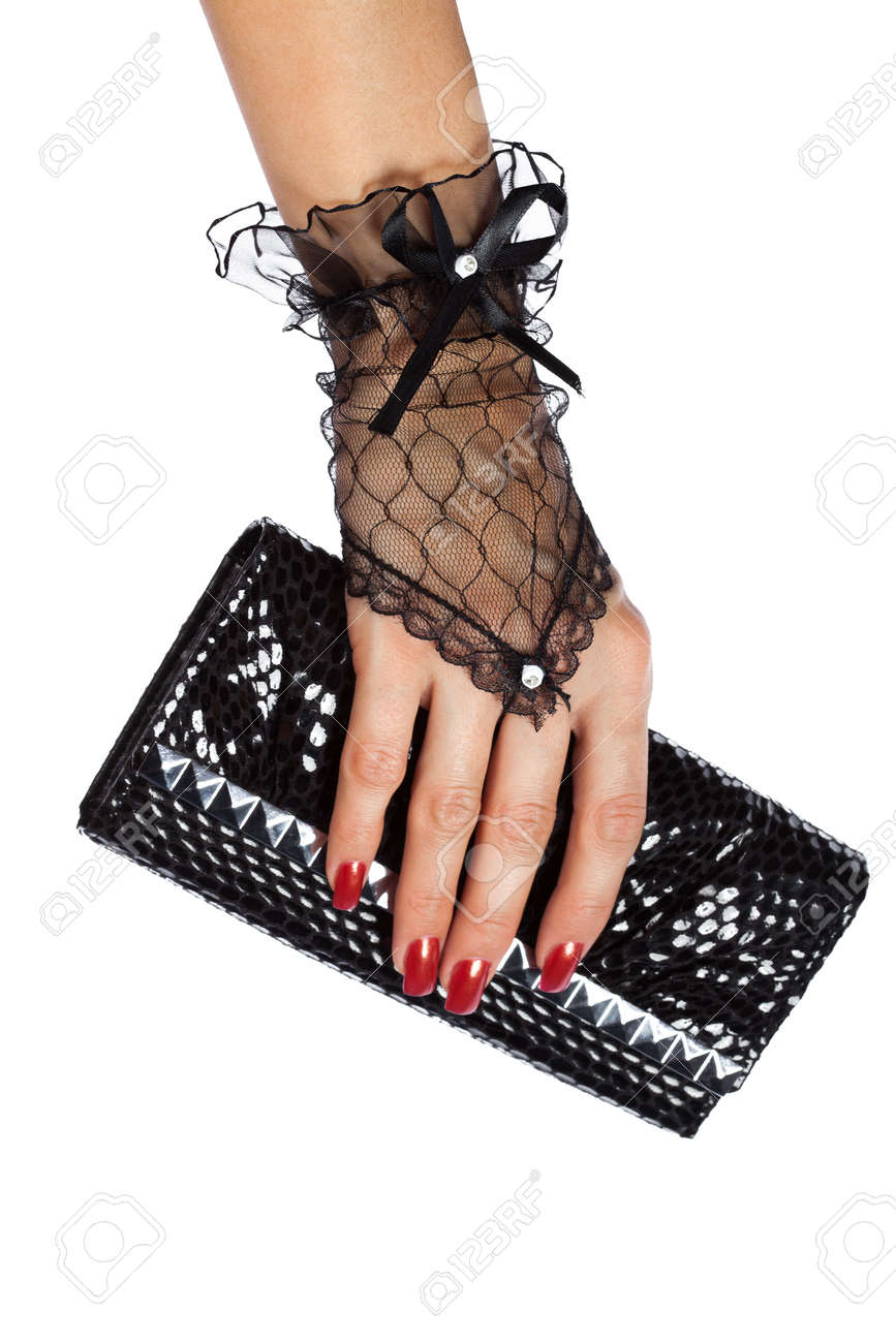 Noire Les Gants Dentelle Avec Sac La Main De À Dans Femme 9DE2IH