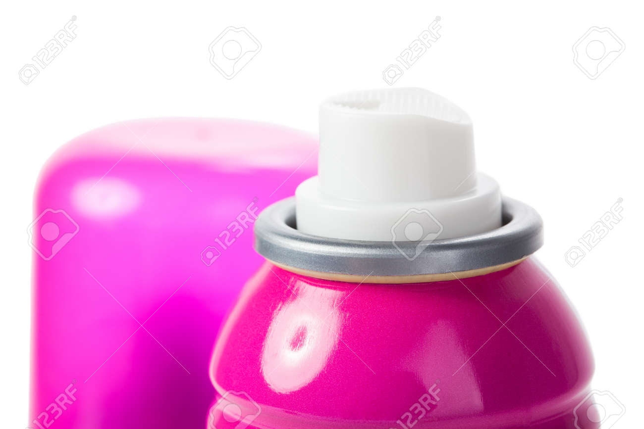 Pink shot of spray can isolated on white with cap Stock Photo - 17468843