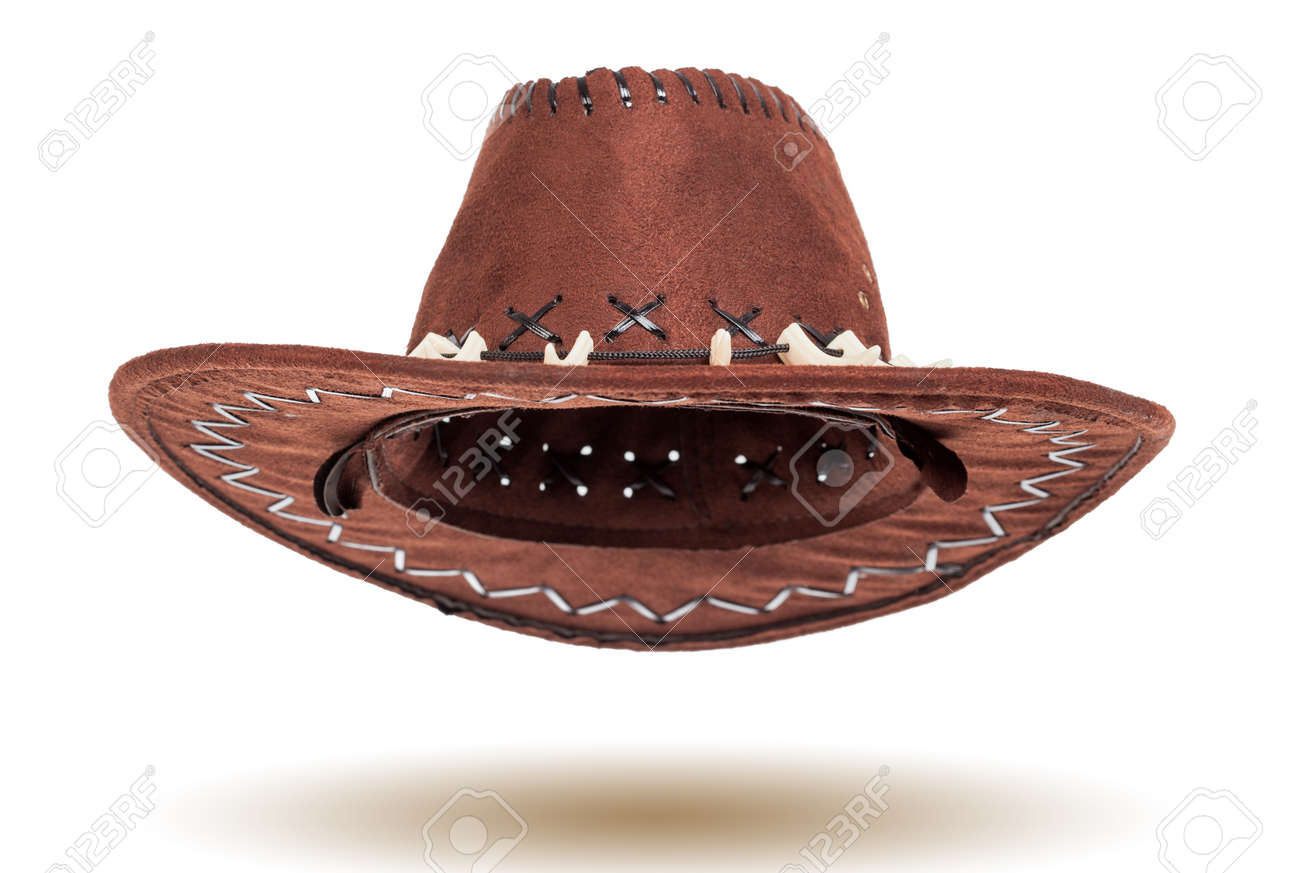 7eb654302d7a6 Leather cowboy hat isolated on white background Stock Photo - 27041686