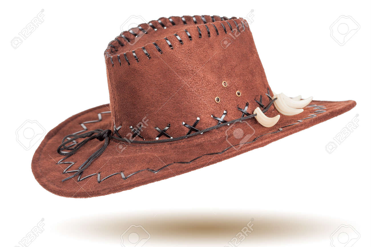 9b23e63ac7895 Leather cowboy hat isolated on white background Stock Photo - 27041708