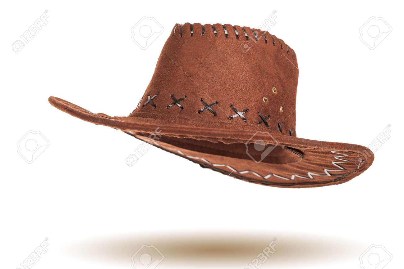 615debf494ad7 Leather cowboy hat isolated on white background Stock Photo - 27496326