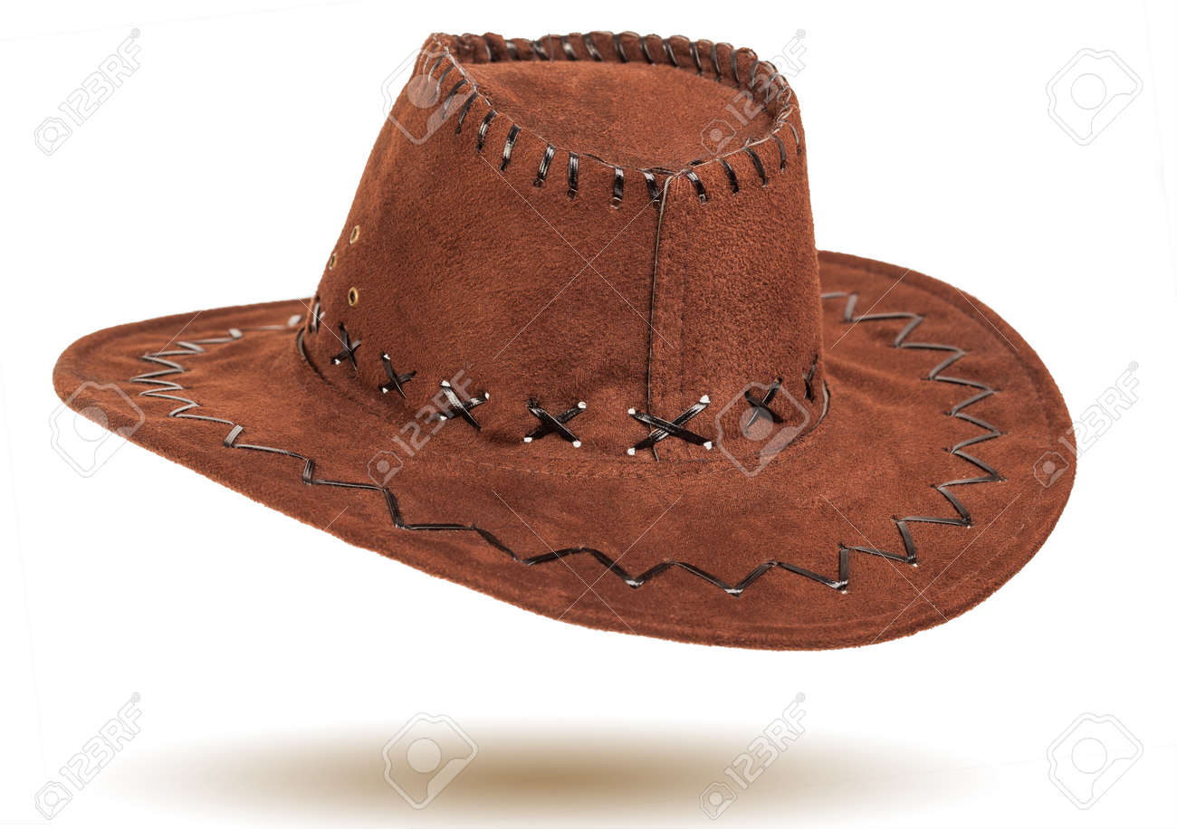 3a6cf4f9d6a99 Leather cowboy hat isolated on white background Stock Photo - 27496340