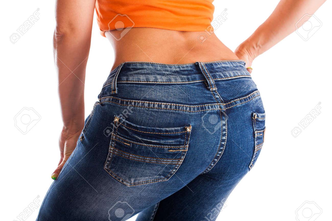 Hübsche Frauen Den Arsch In Engen Jeans Auf Weißem Hintergrund