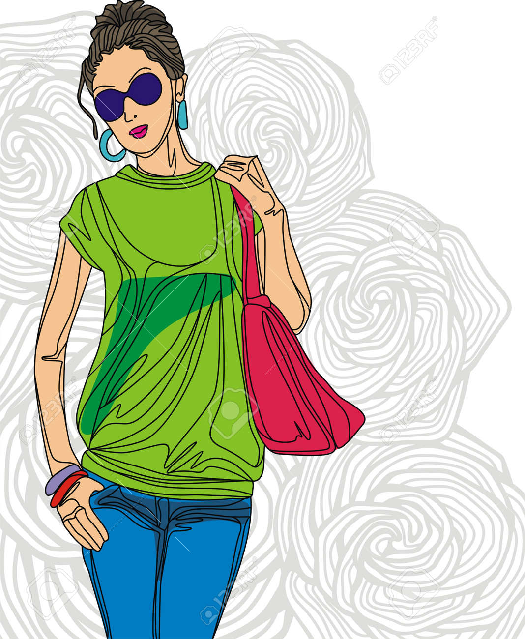 Image of fashion girl on floral background. Vector illustration Stock Vector - 17549515