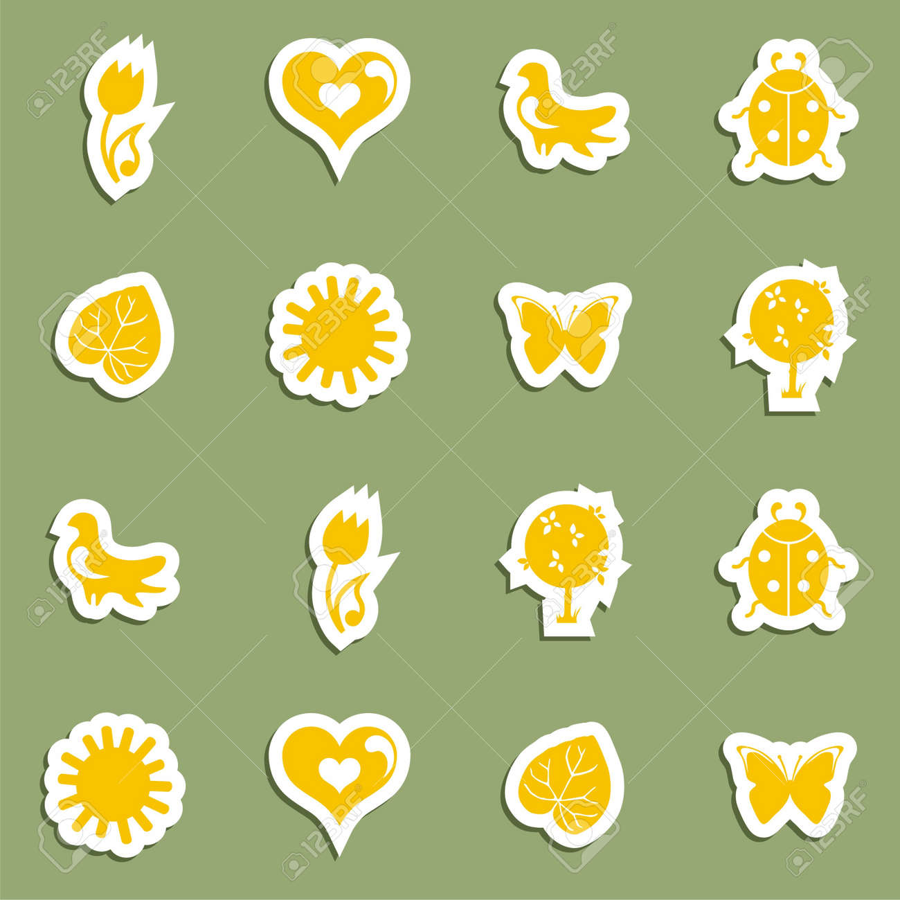 Vector Icon set on the topic spring. Vector illustration Stock Vector - 17549474