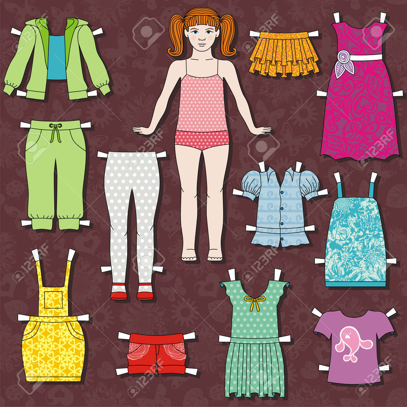 Paper Doll Body With Cloths For Her. This Template For Cut. Vector ...
