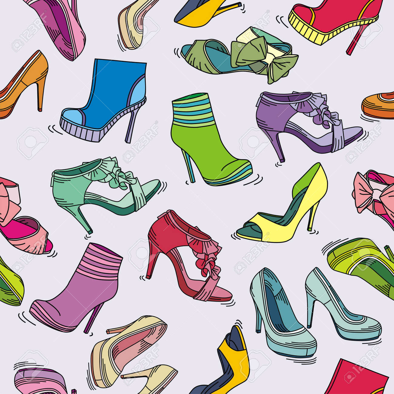 Colorful texture of fashion shoes on violet background. Vector illustration Stock Vector - 17549514