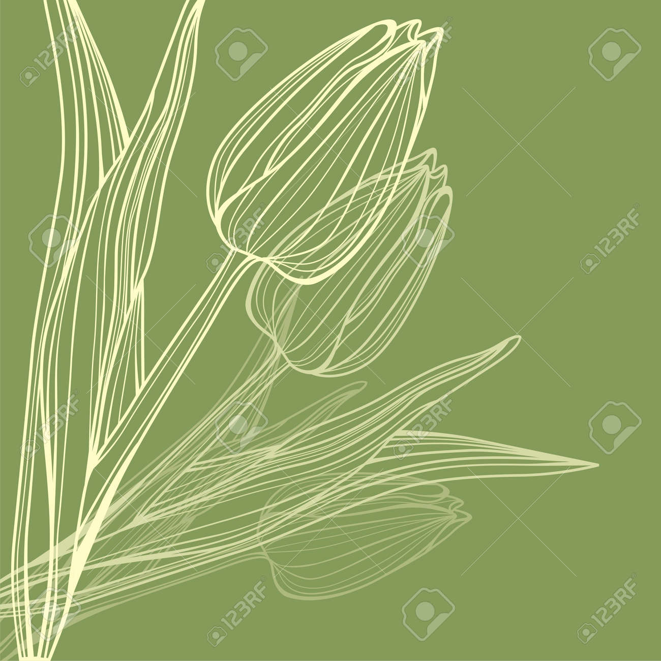 postcard with cute flower on color background.  illustration Stock Vector - 18583858