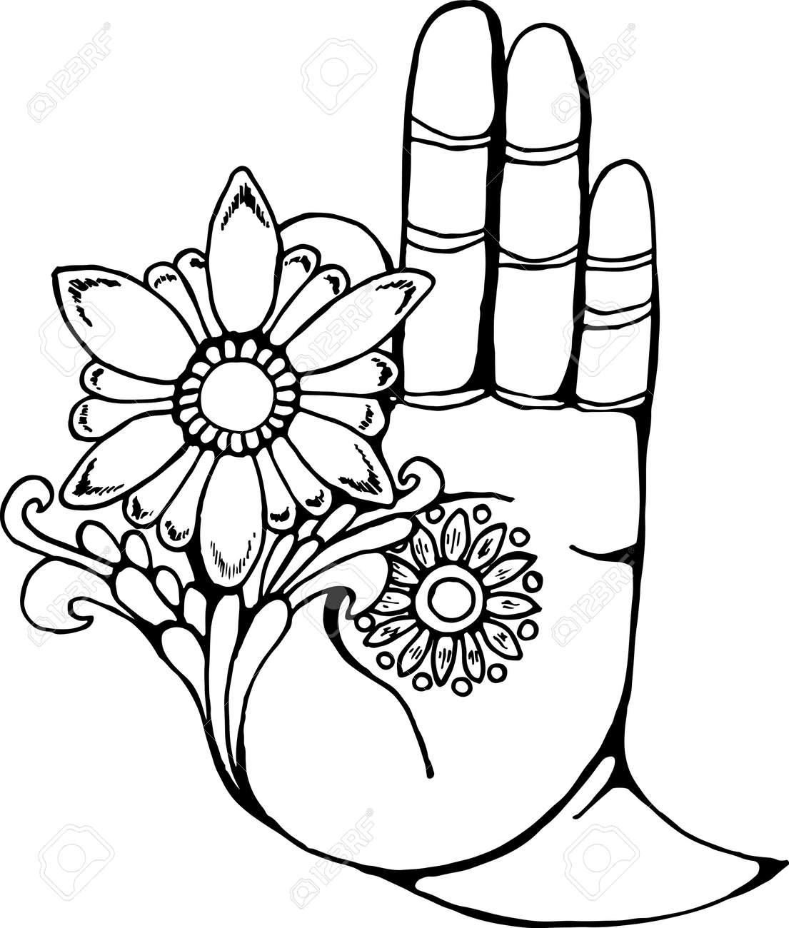 Illustration of a buddha hand holding a flower black and white illustration of a buddha hand holding a flower black and white drawing stock vector mightylinksfo