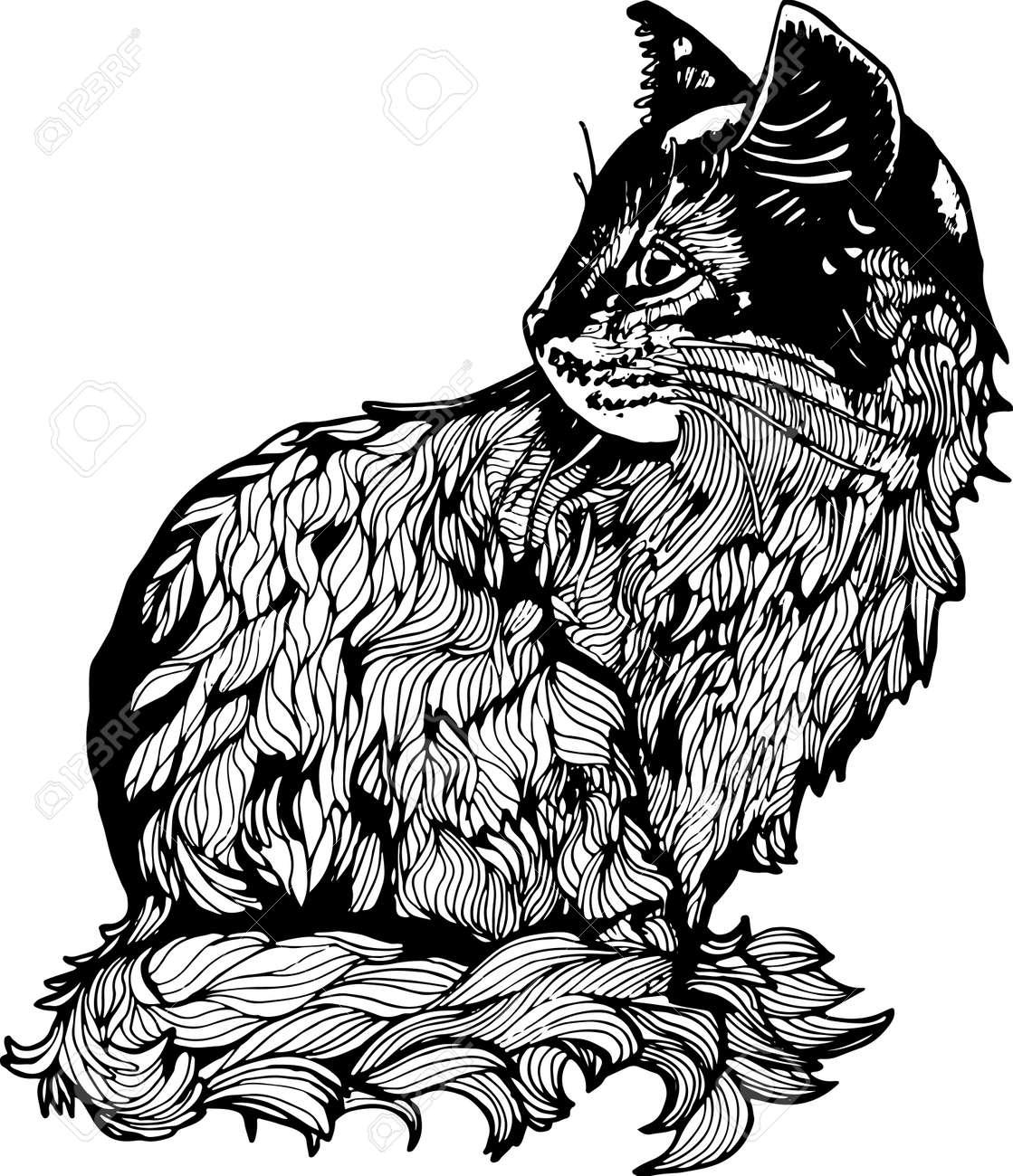 Una Ilustración De Un Gato De Perfil Dibujo Blanco Y Negro De Un