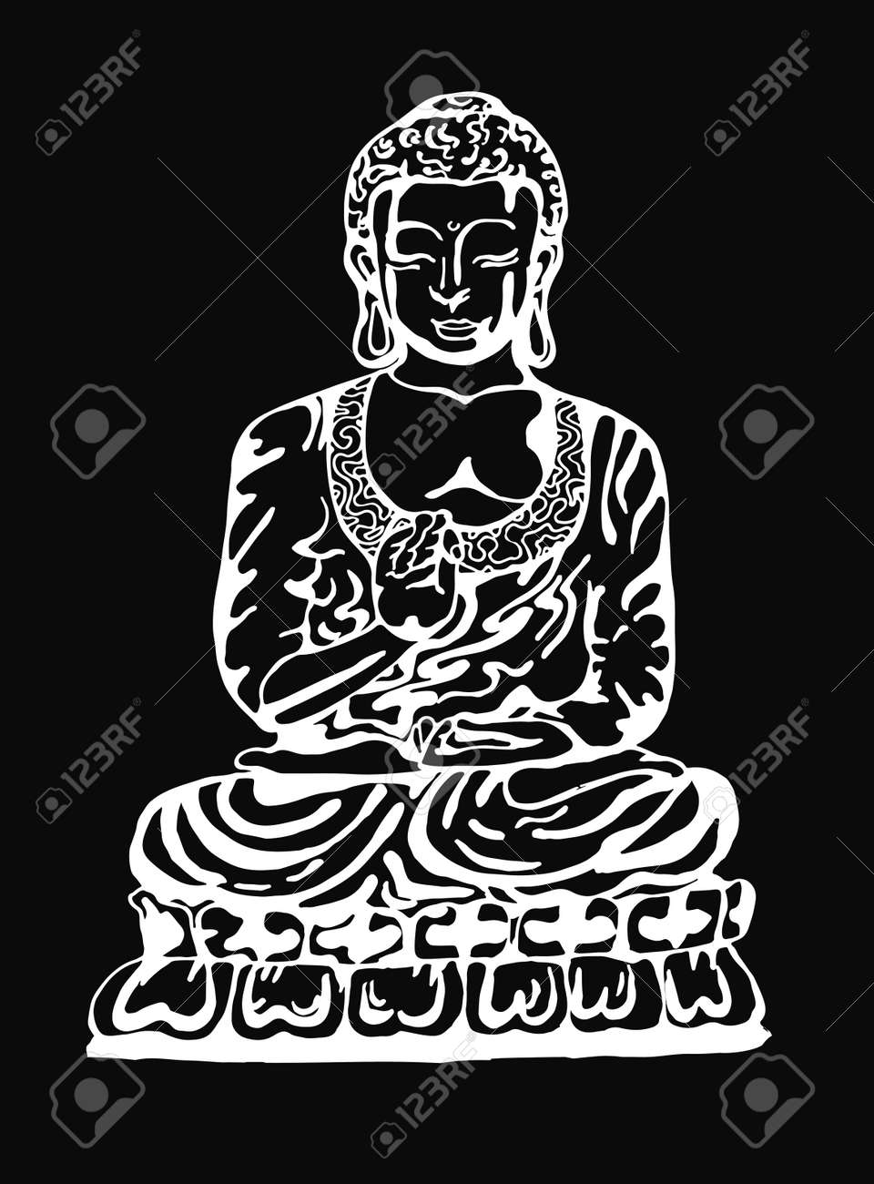 Buddha in meditation in the style of street art vector illustration of a black and