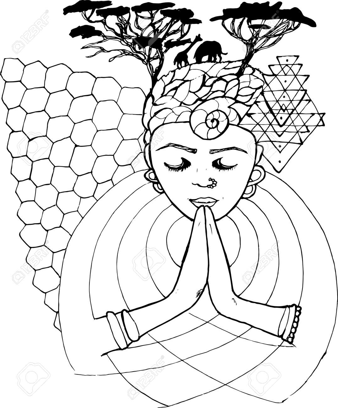 Black And White Drawing Of A Praying Person With Closed Eyes