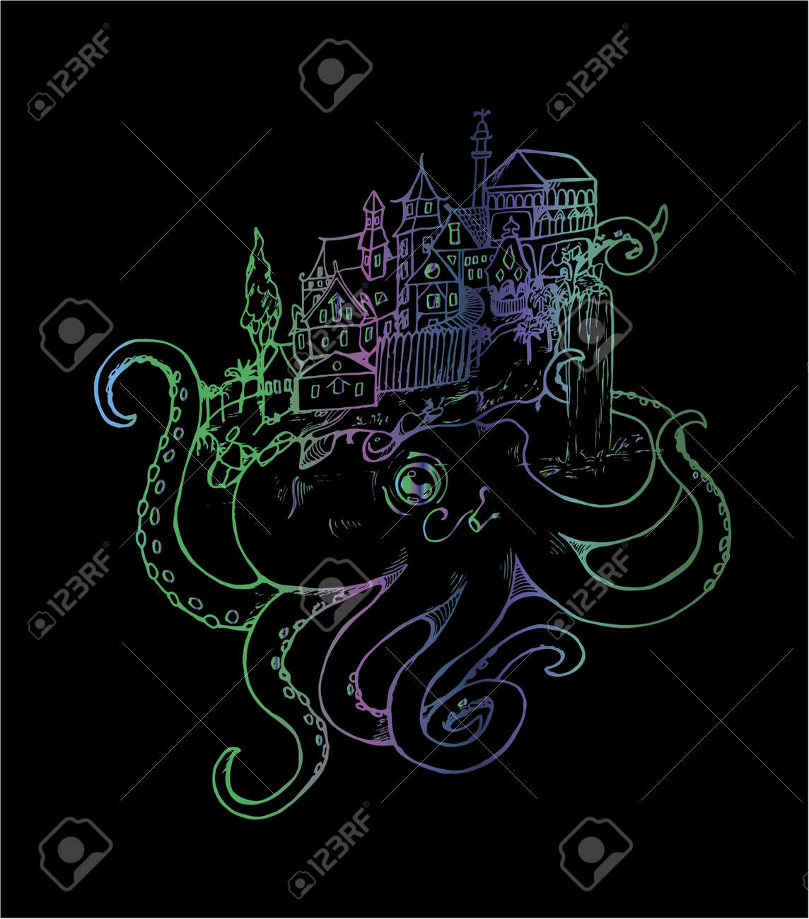 b07f05d6ee3f Illustration of an octopus with an old city. Black and white drawing. Stock  Vector