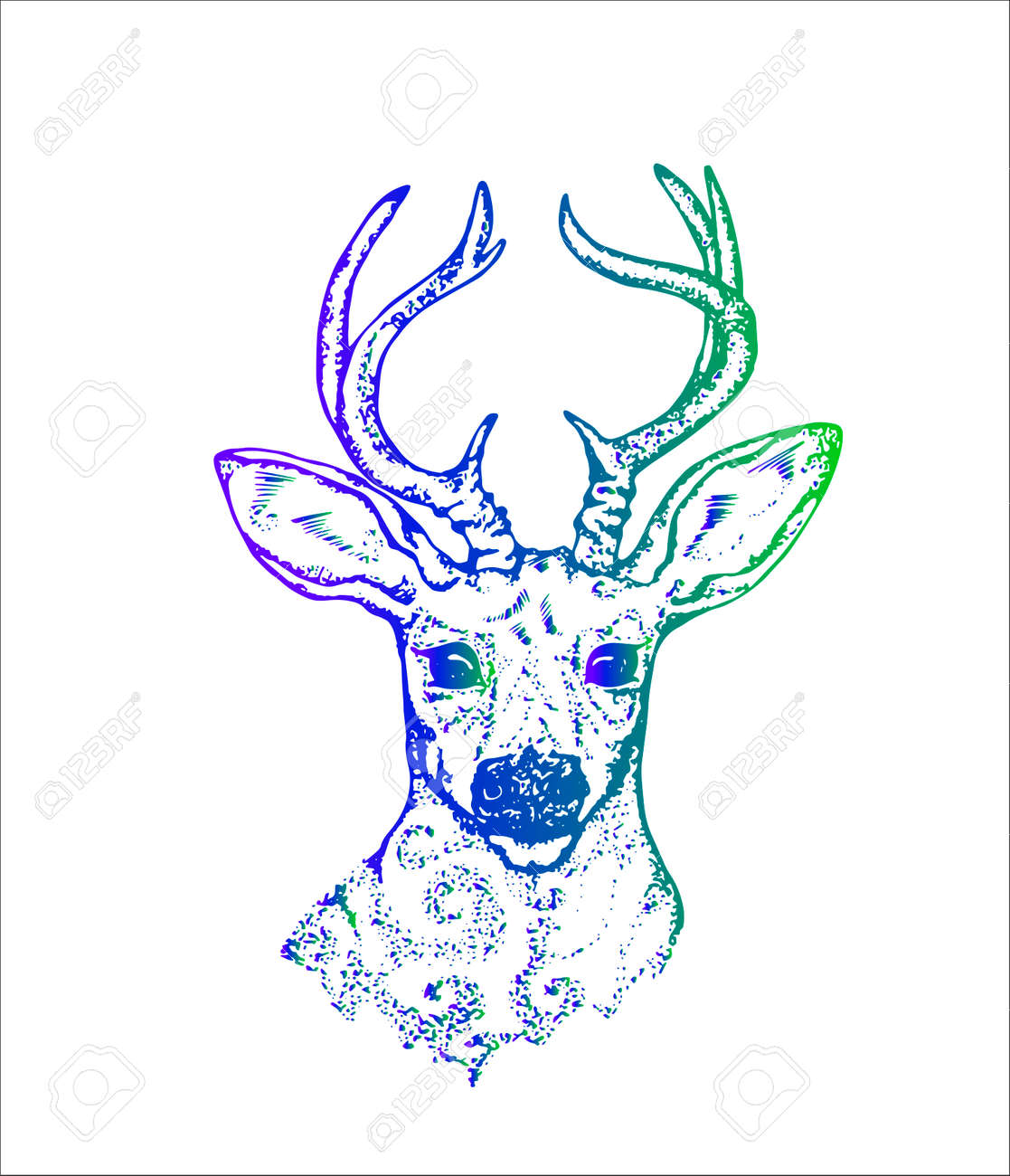 Illustration Of A Deer With Peacock Feathers In Horns Color