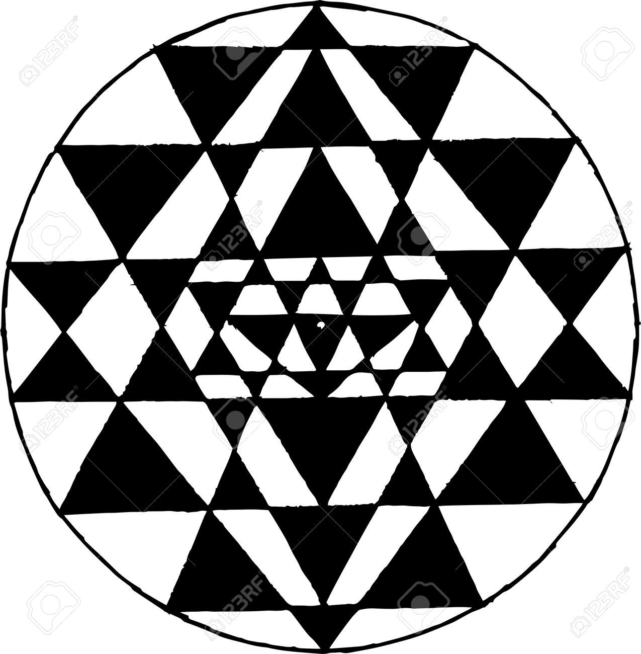 Black white picture of Shri Yantra  Triangles and concentration