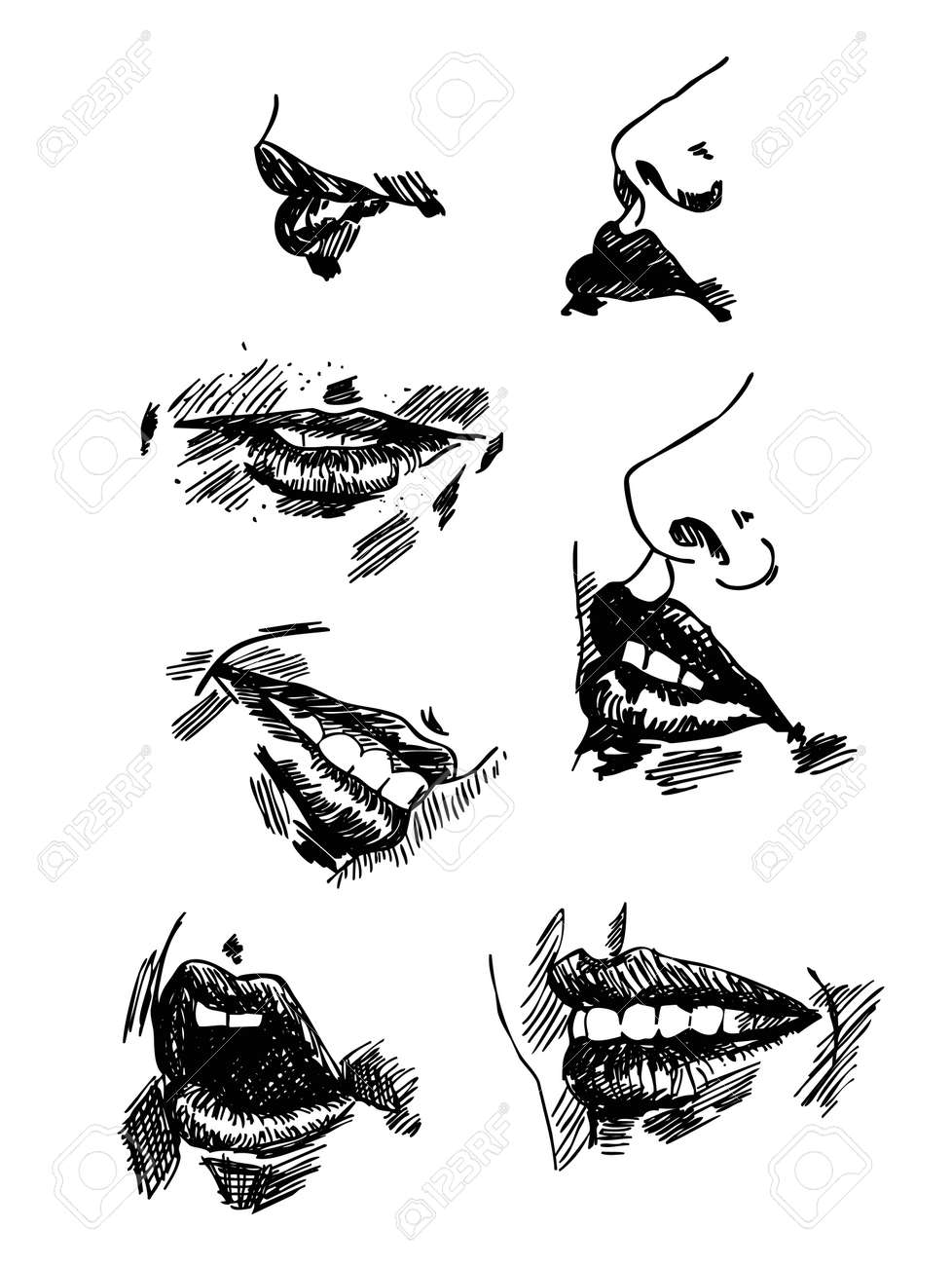 Set pencil drawing lips realistic sketch vector