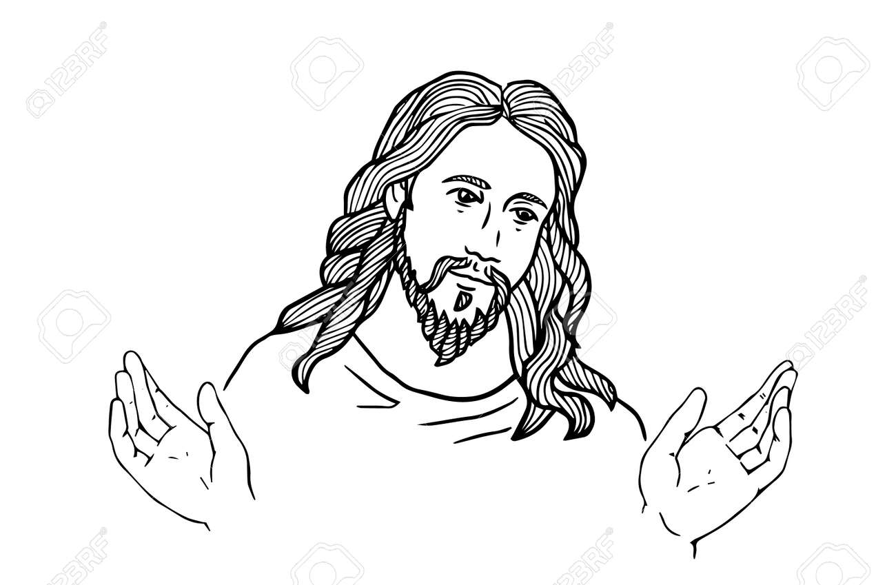 graphical face of Jesus .Face of Jesus. open hands - 75901423
