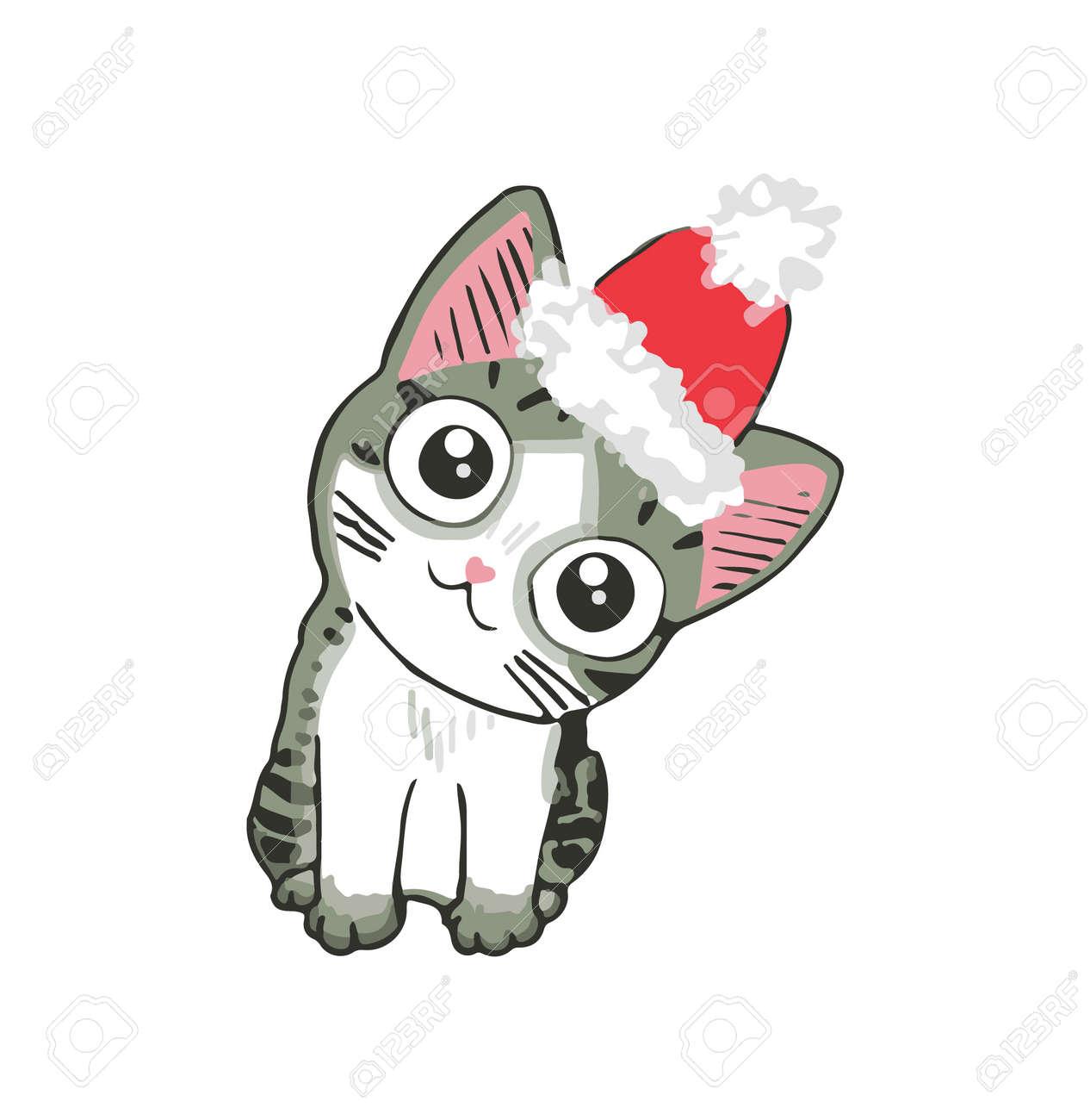 Kitten Christmas Cards.Cute Kitten In A Santa Hat Funny Cat Christmas Illustration