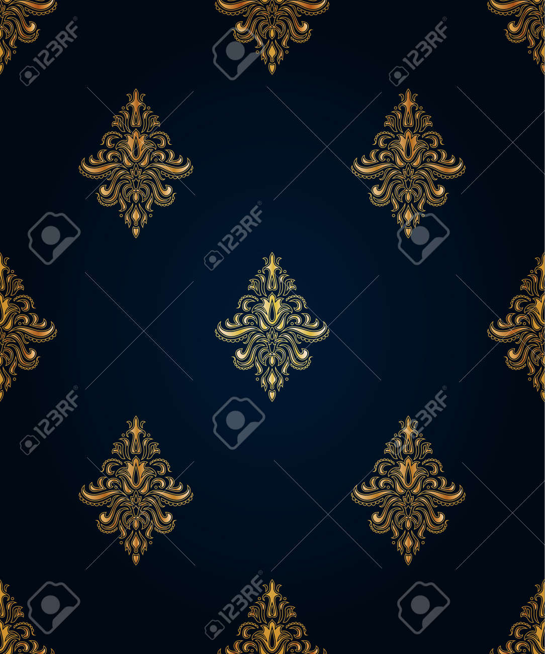 Gold seamless classic pattern with floral ornament on the blue background Stock Vector - 11387593