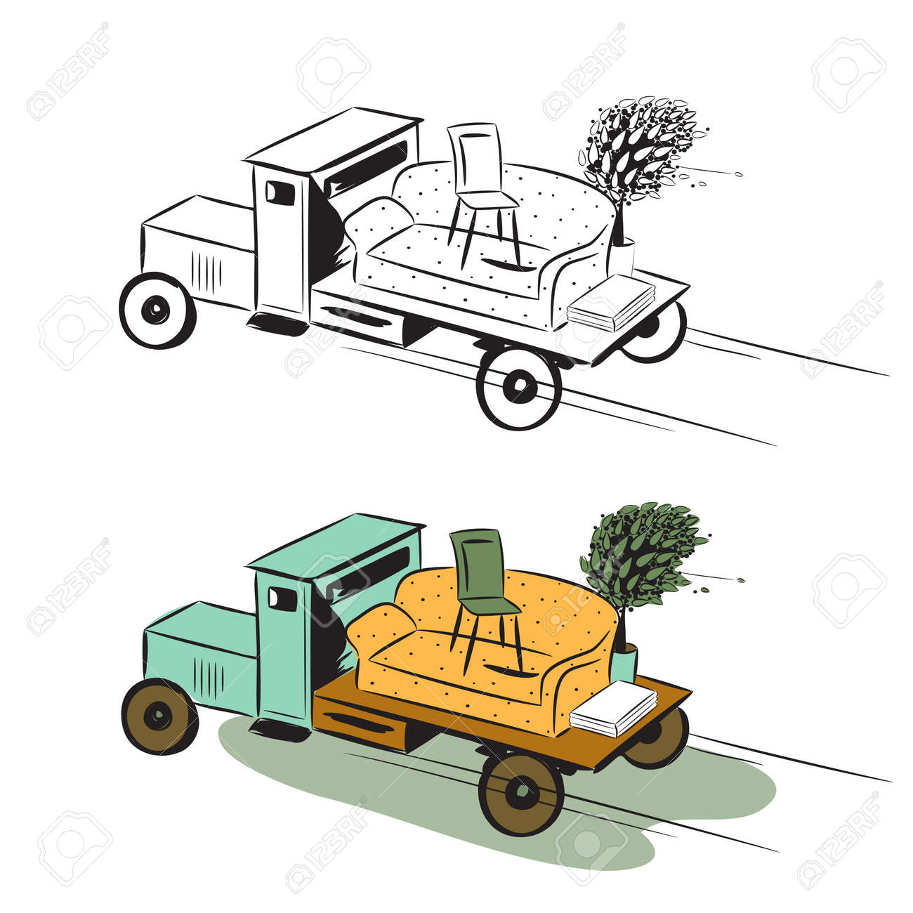 Truck with furniture, concept of moving  Colour image and sketch Stock Vector - 12490911