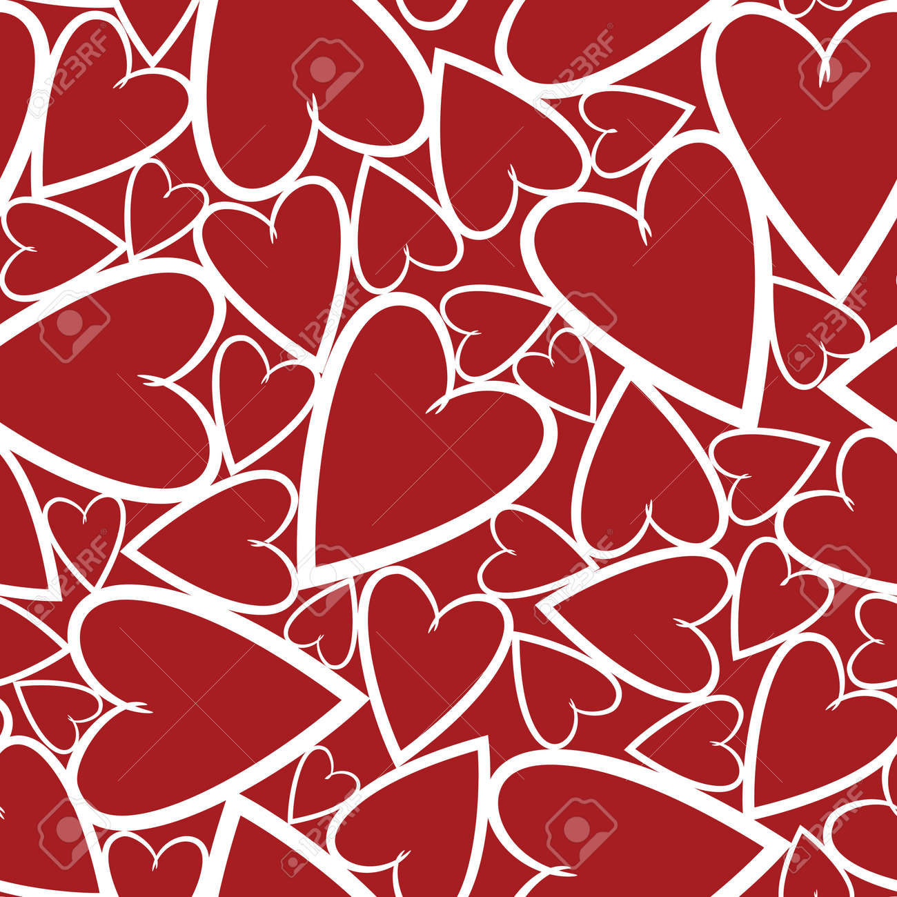 Bright seamless pattern with hearts on the red background Stock Vector - 12595427