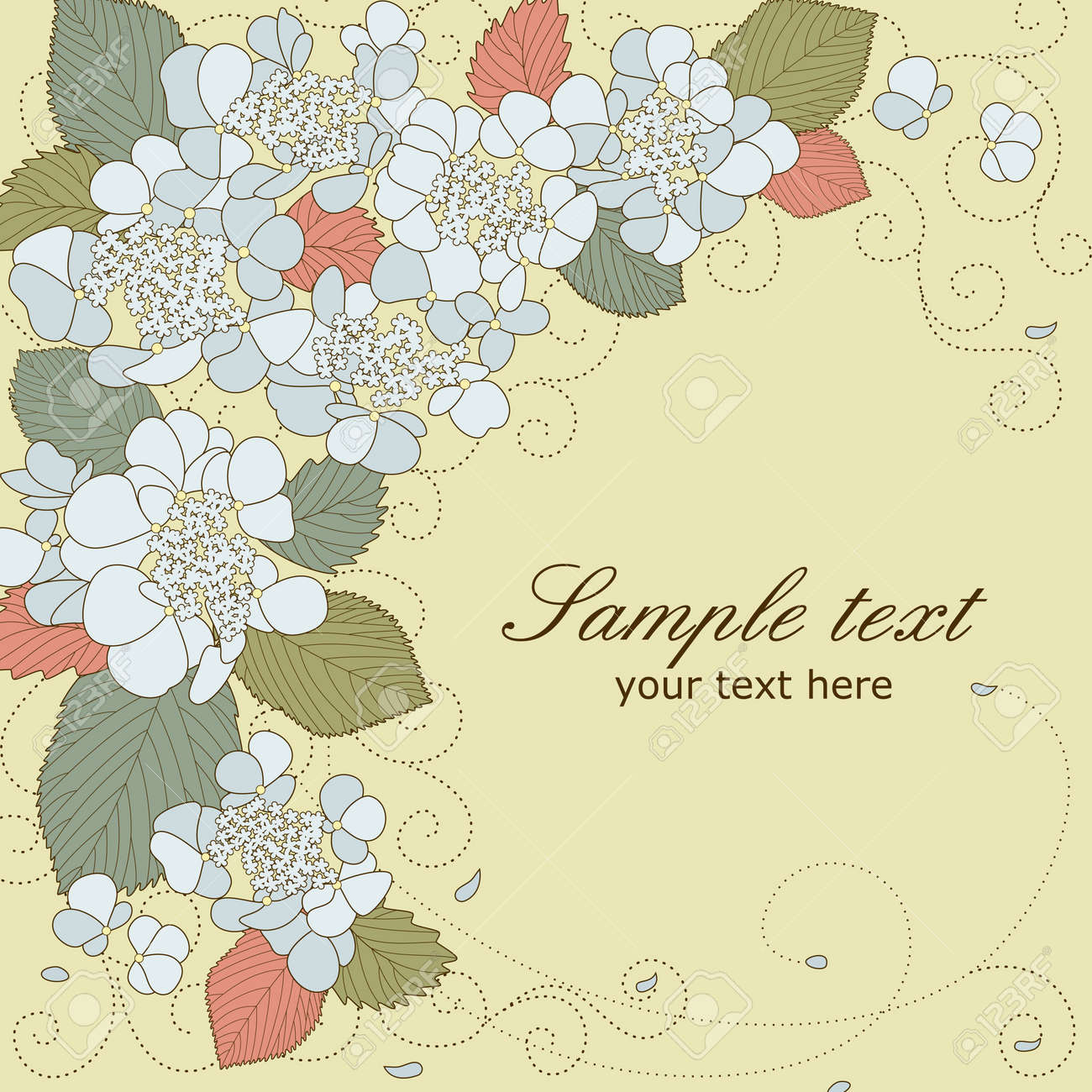 Vector greeting card with blue hydrangea flowers in pastel colors - 14700863