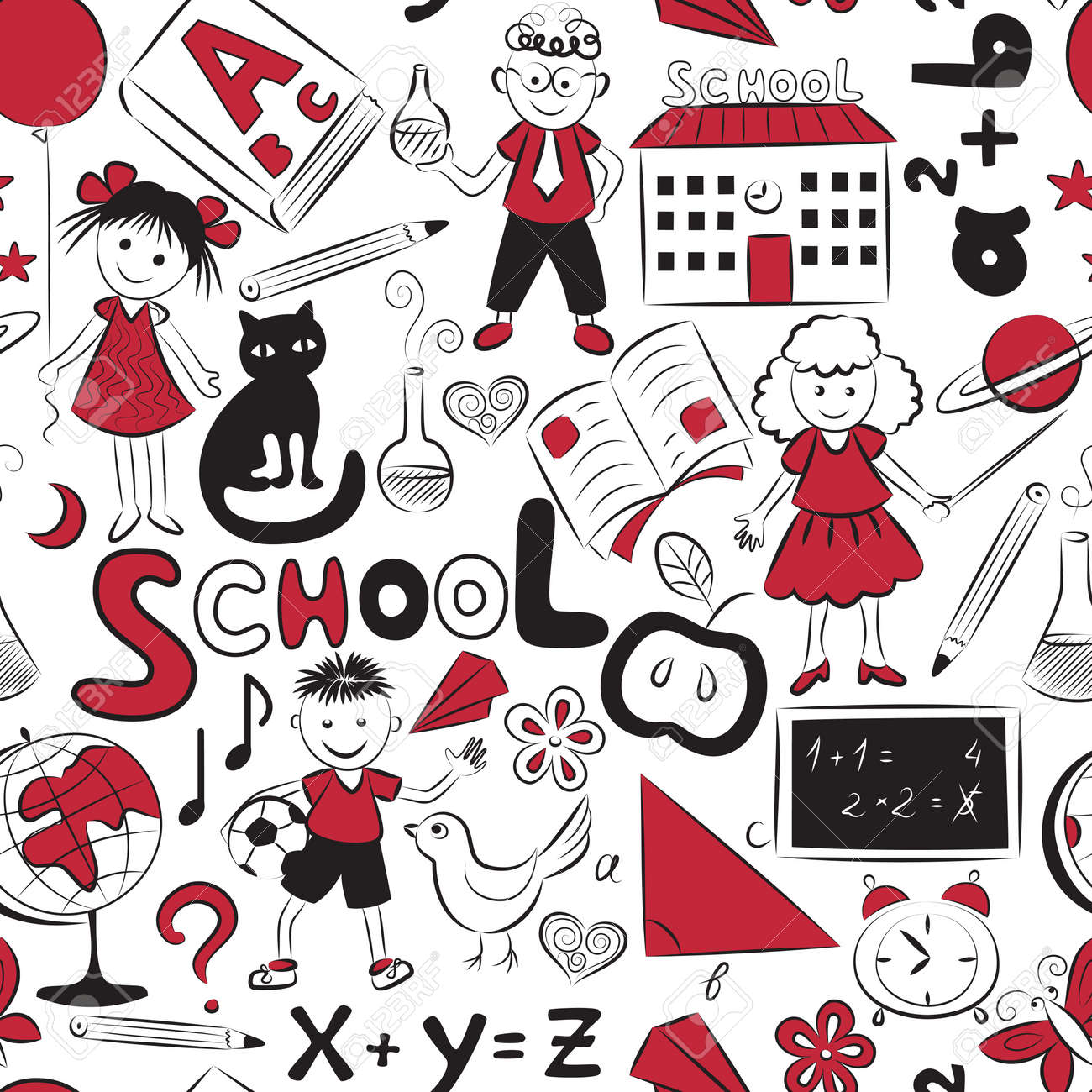 Vector seamless pattern with doodles of children and different school things - 14809067