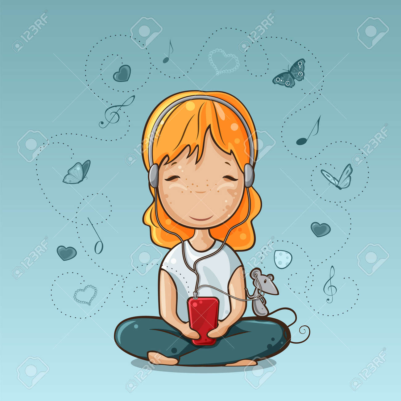 Little girl and mouse listening to music from smart phone Stock Vector - 14950465