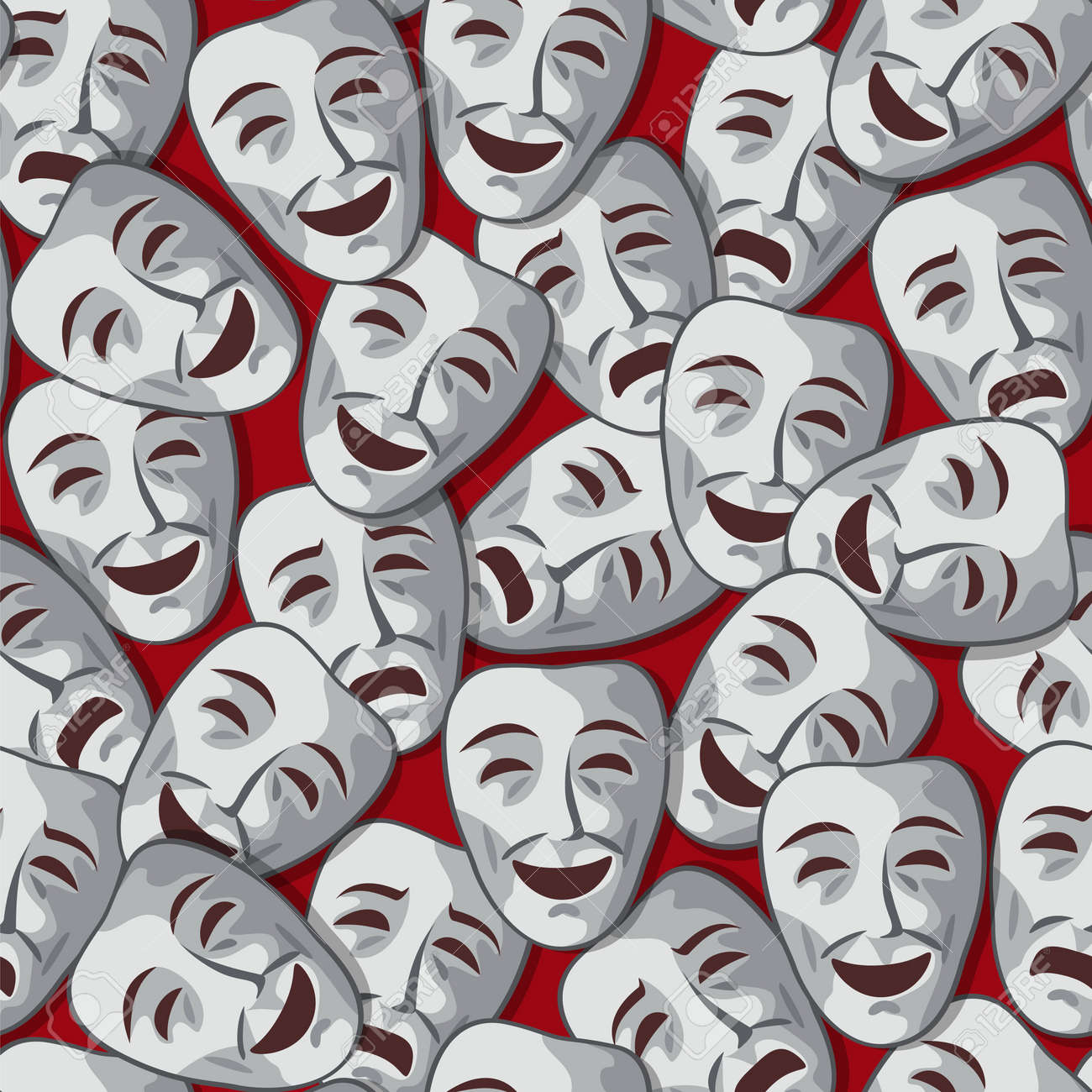 seamless pattern with merry and sad theatrical masks - 15025491