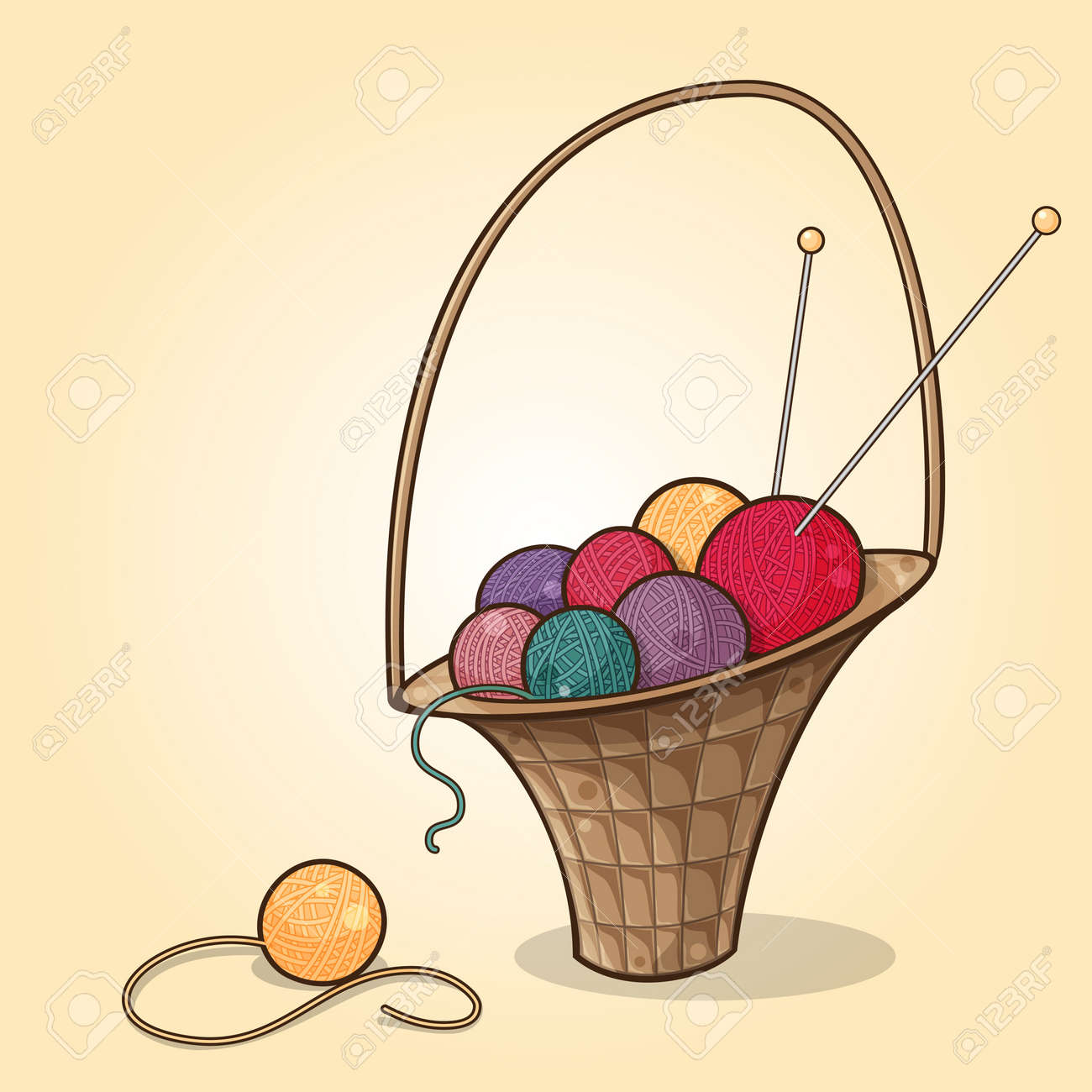 Cartoon illustration of the basket with yarn balls of different colors - 15120199