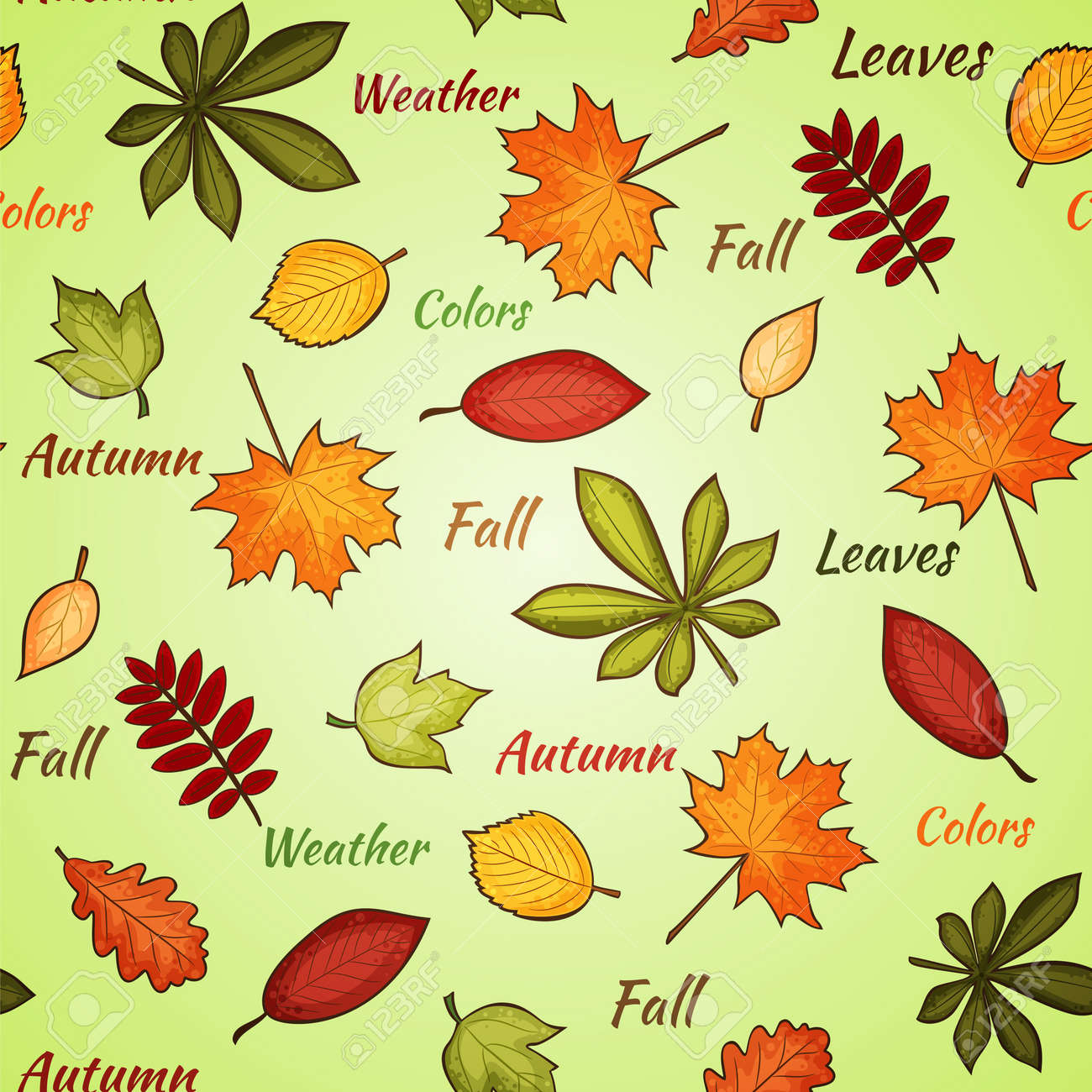 seamless pattern with many-colored autumn leaves and words on the light background Stock Vector - 15799462