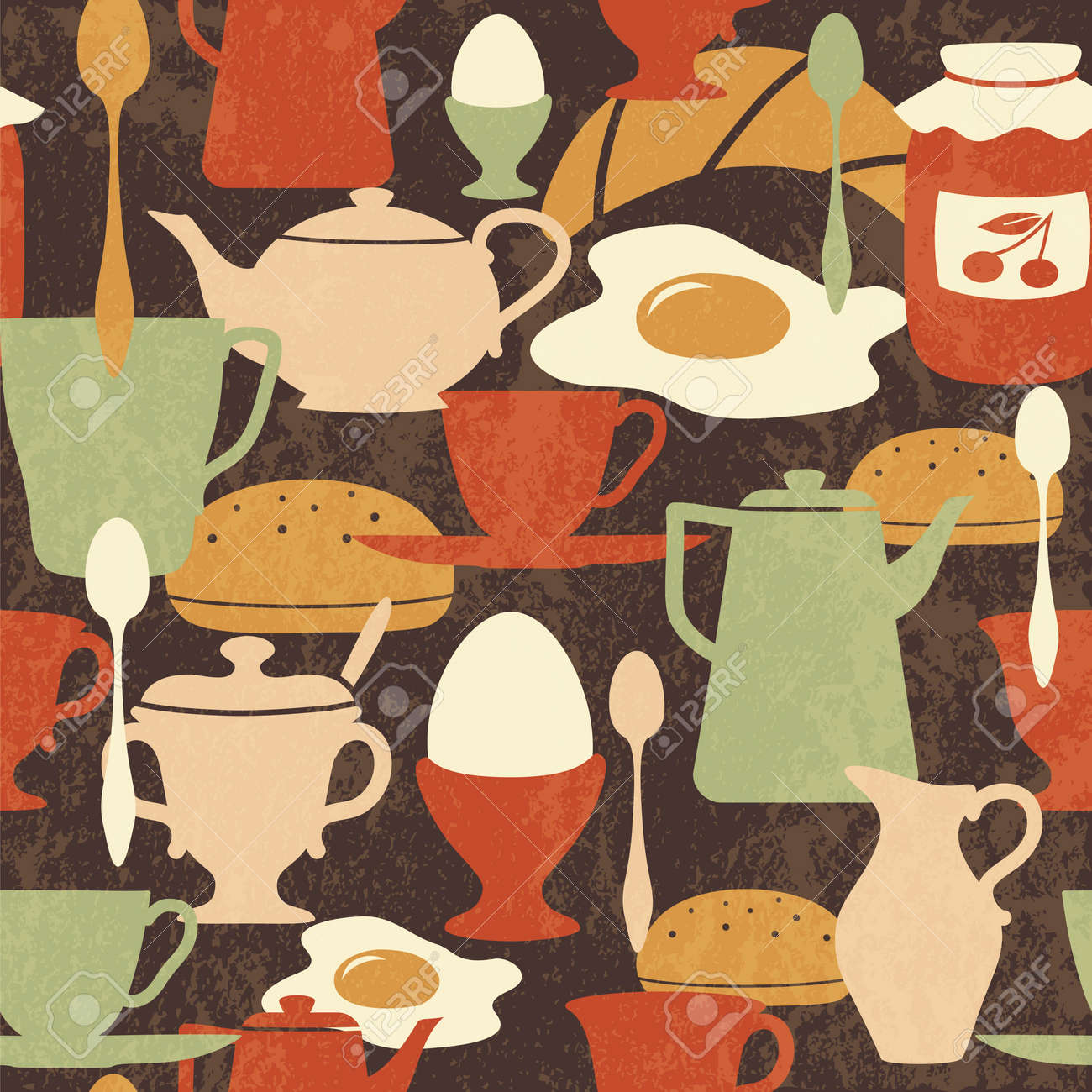 Breakfast seamless pattern with traditional food and drinks - 15799463