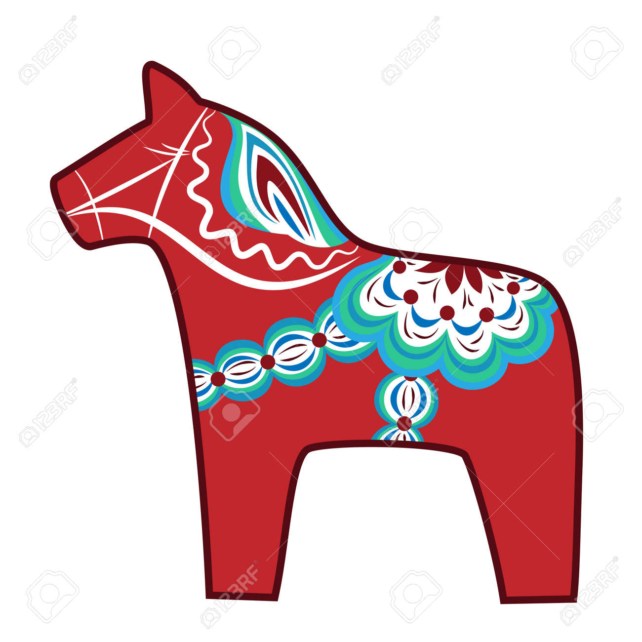 Red Wooden Horse National Symbol Of Sweden Royalty Free Cliparts