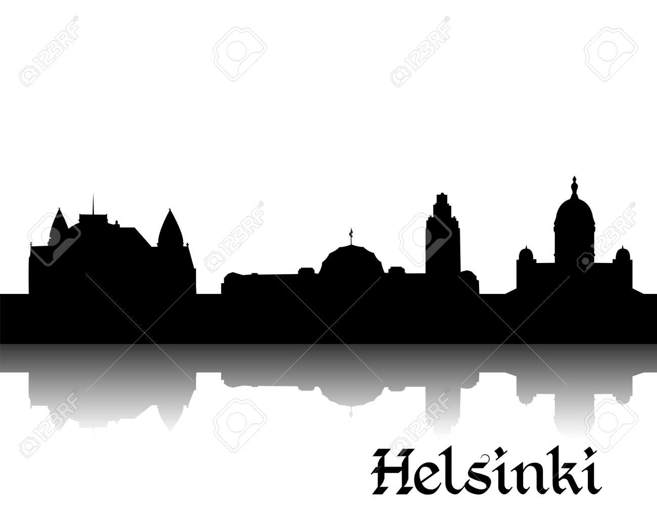 Black silhouette of Helsinki the capital of Finland - 16456286