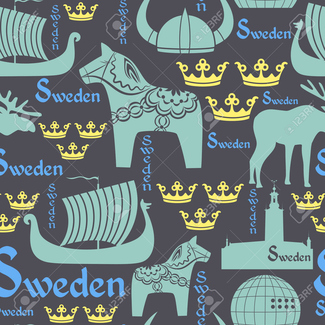 seamless pattern with national symbols of Sweden on the blue background - 16456290