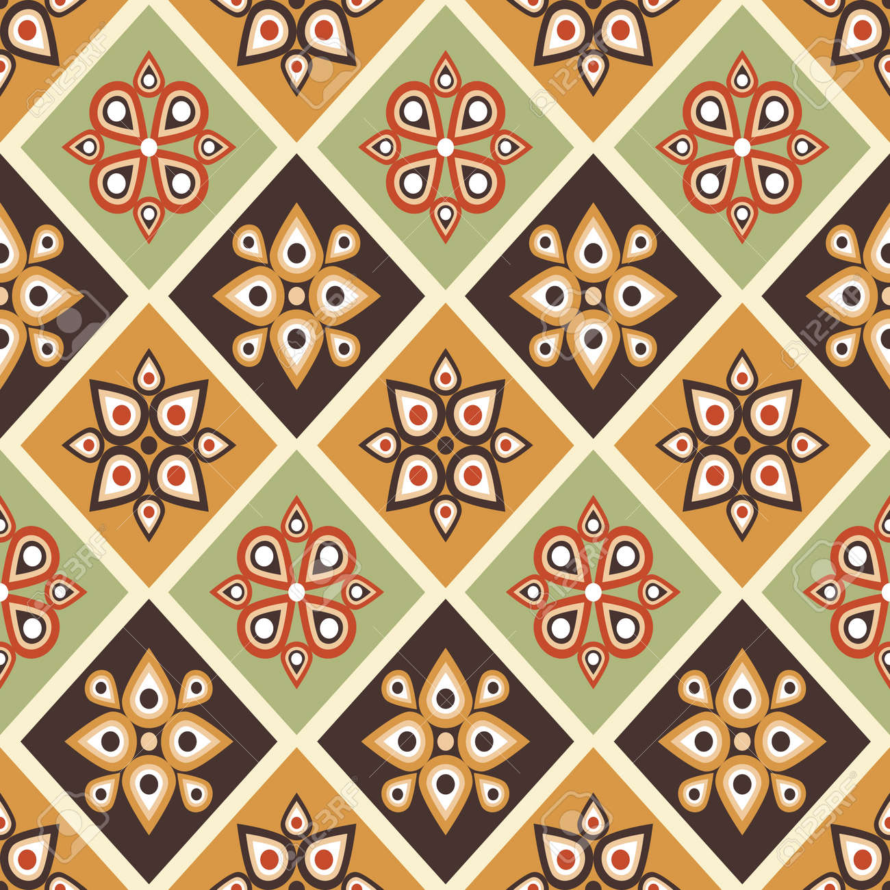 Seamless pattern with geometrical ornate in retro colors Stock Vector - 16556502