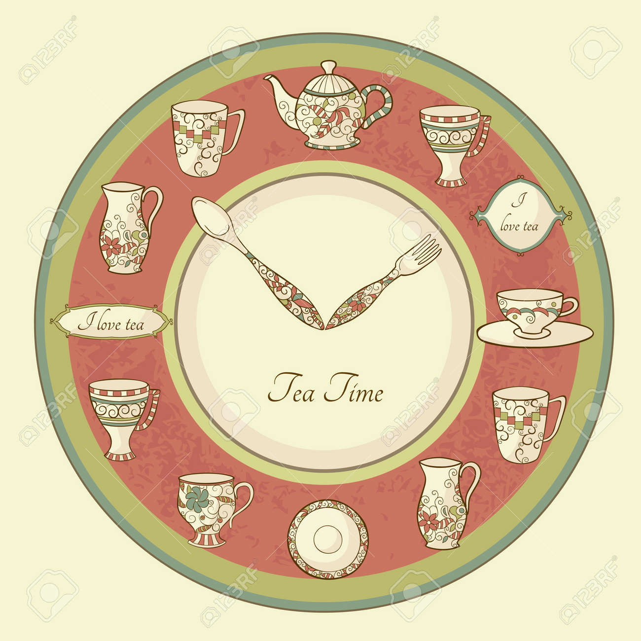 Vintage illustration of clock with teapot and cups and text Tea Time - 17215586