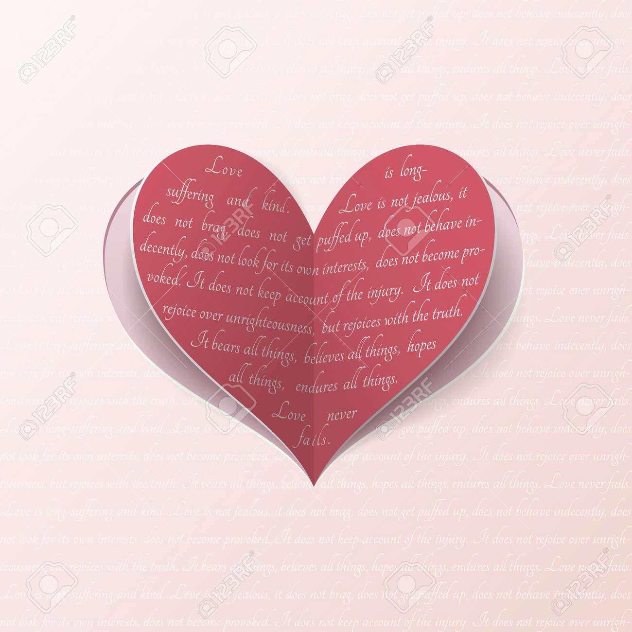 Très Coeur De Papier Vecteur Avec Citation De La Bible Sur L'amour Vrai  UL03
