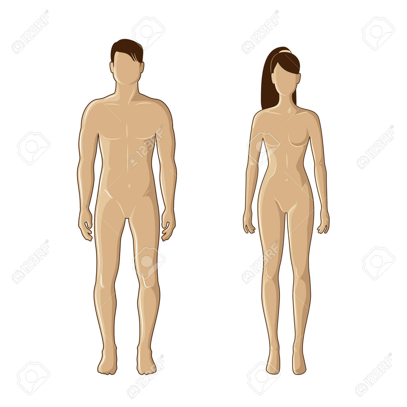 mannequins of man and woman in brown color - 17798904