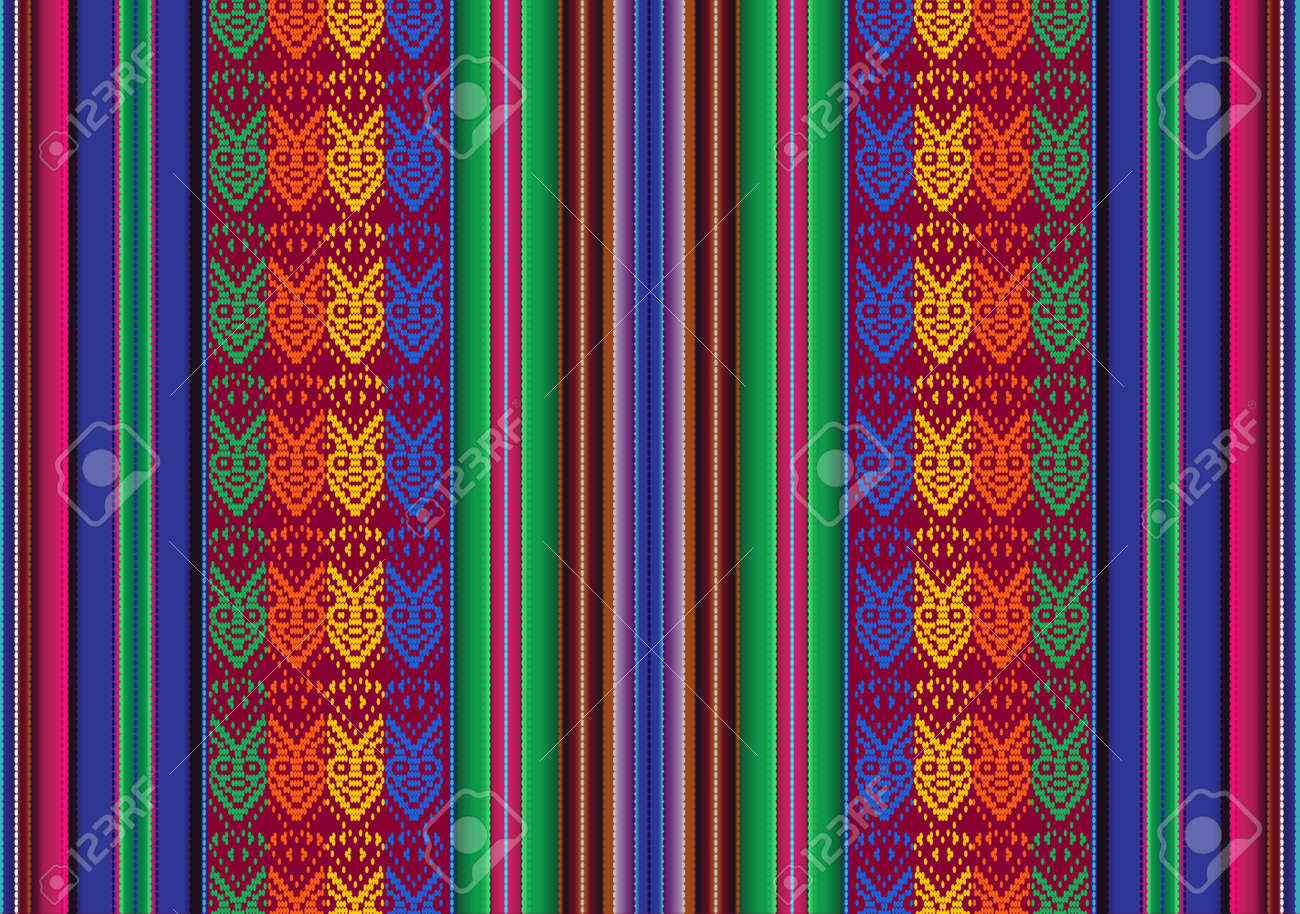 Vector seamless pattern in traditional style of bolivian indigenous peoples - 19428946