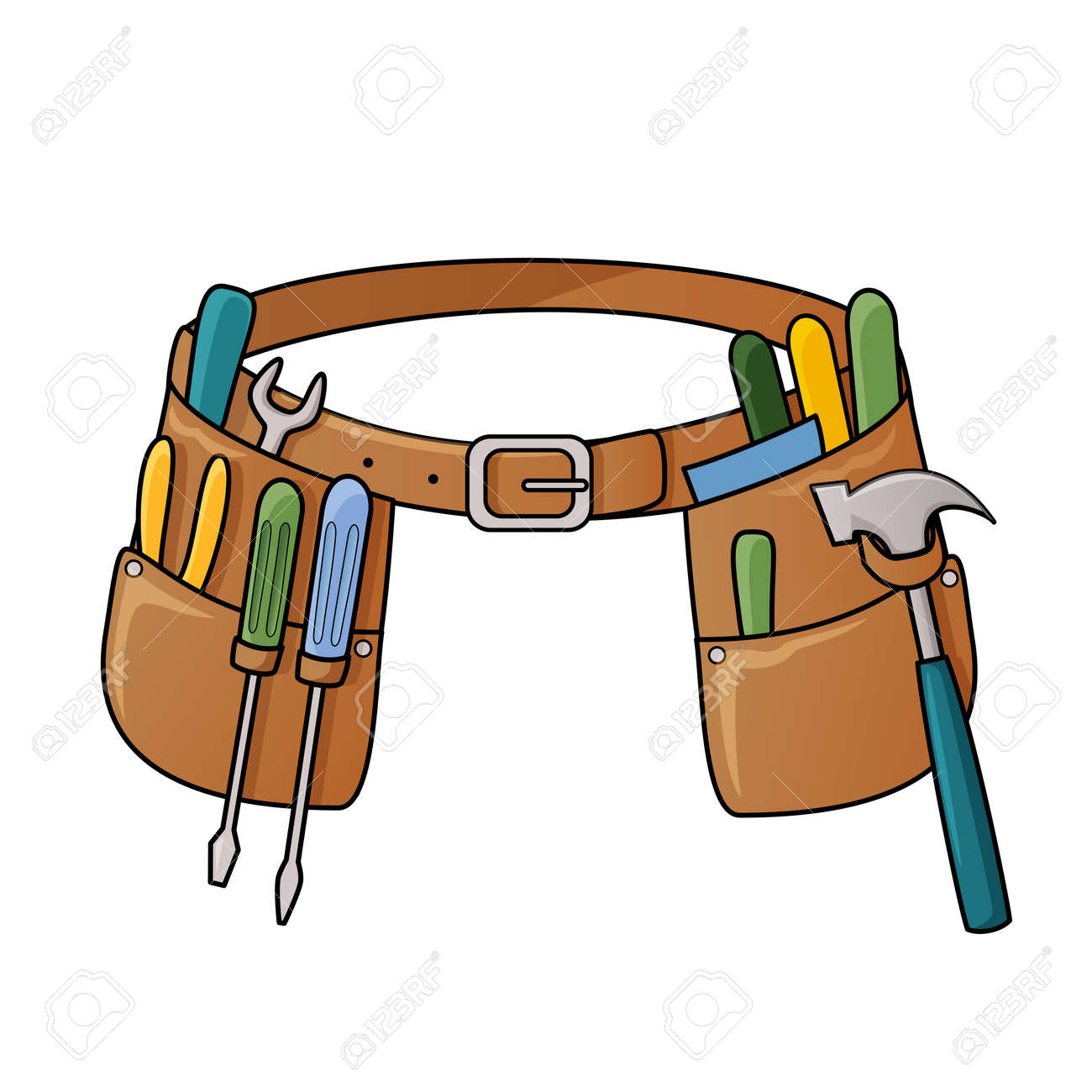 Vector illustration of tool belt with different tools for construction - 23020013