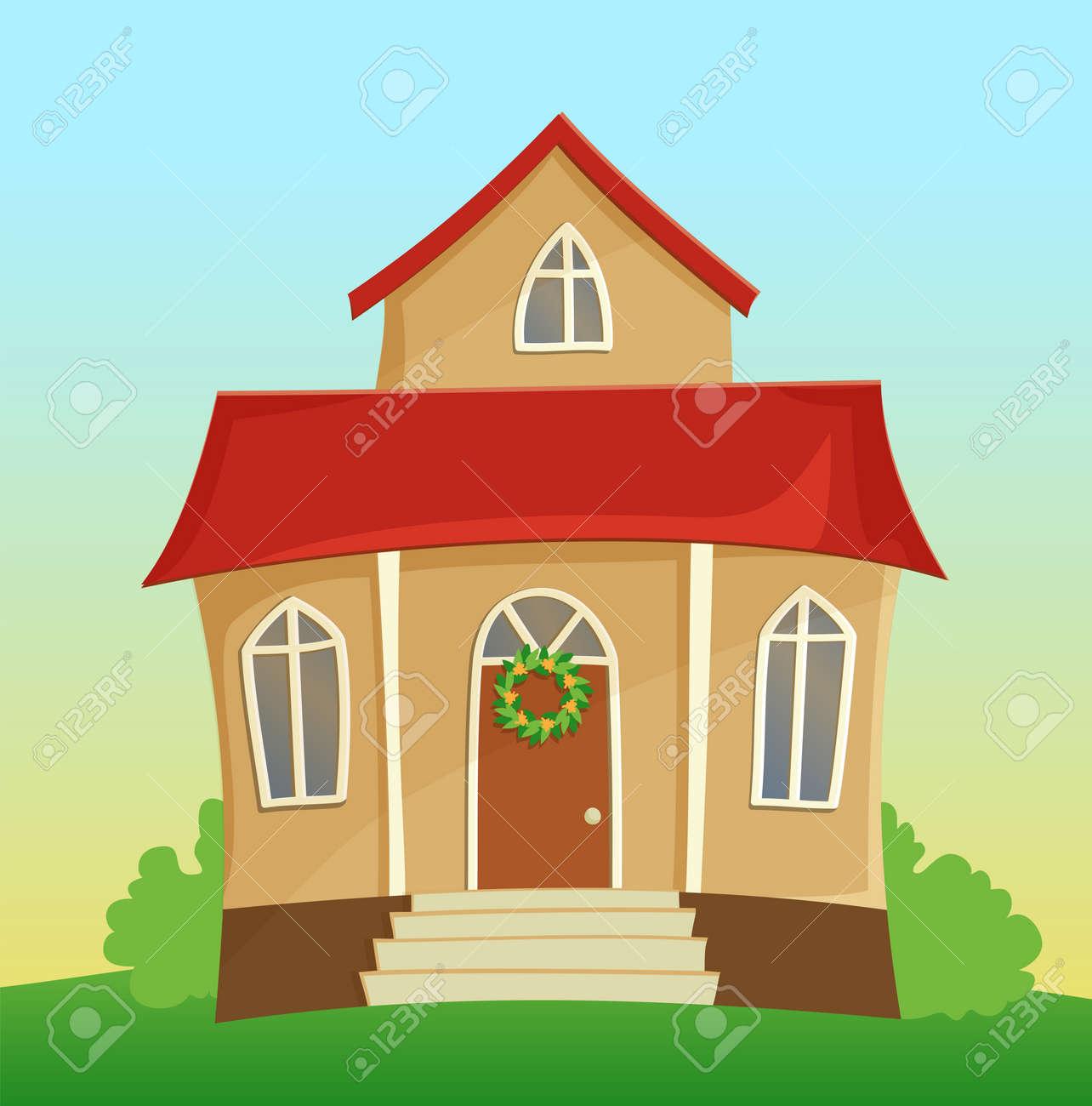 Banque dimages vector illustration de la belle maison de dessin animé avec le toit rouge