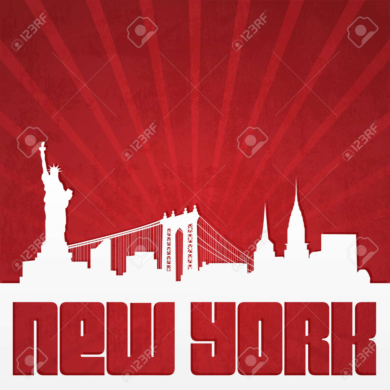 Paper-cut silhouette of New York skyline in vintage style - 28480475