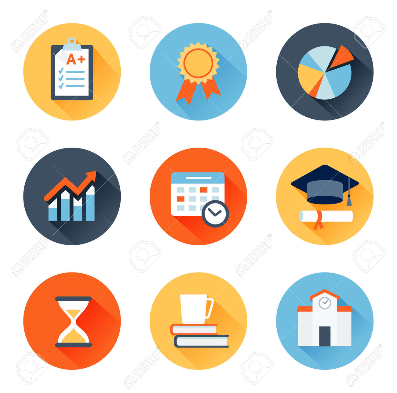 Vector set of flat icons education, exam, graduation and quality assurance - 29459557