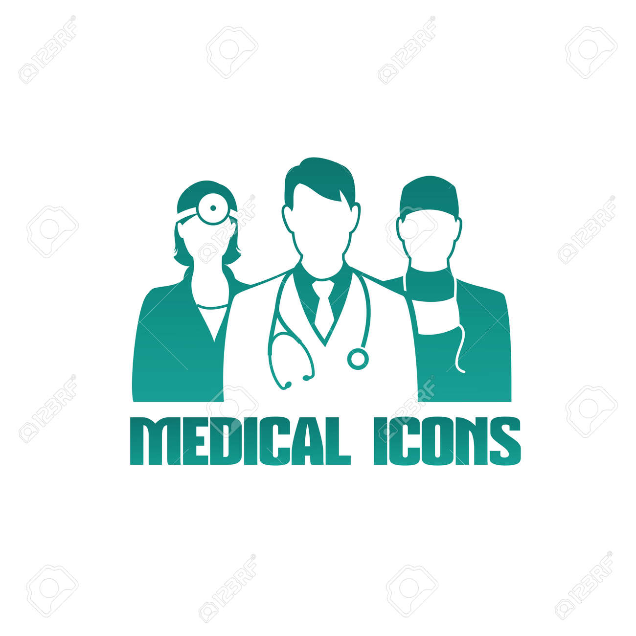 Medical icon with 3 different doctors as therapist, surgeon and otolaryngologist - 29854424