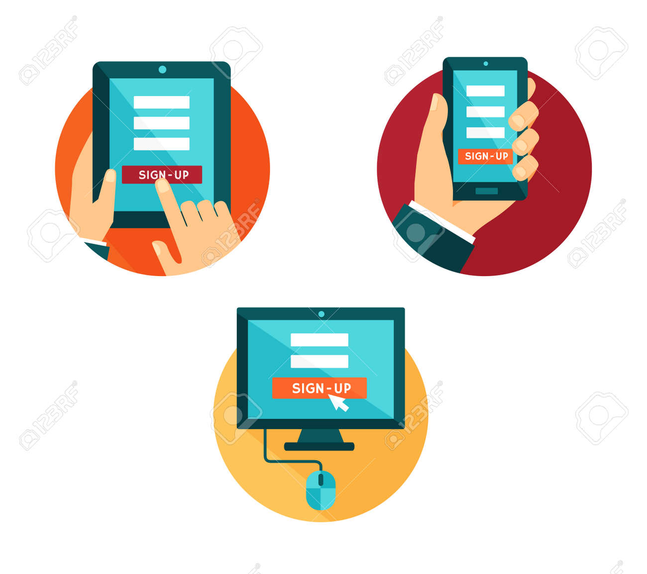 Vector set of icons computer, smartphone and tablet with sign-up button - 30014873