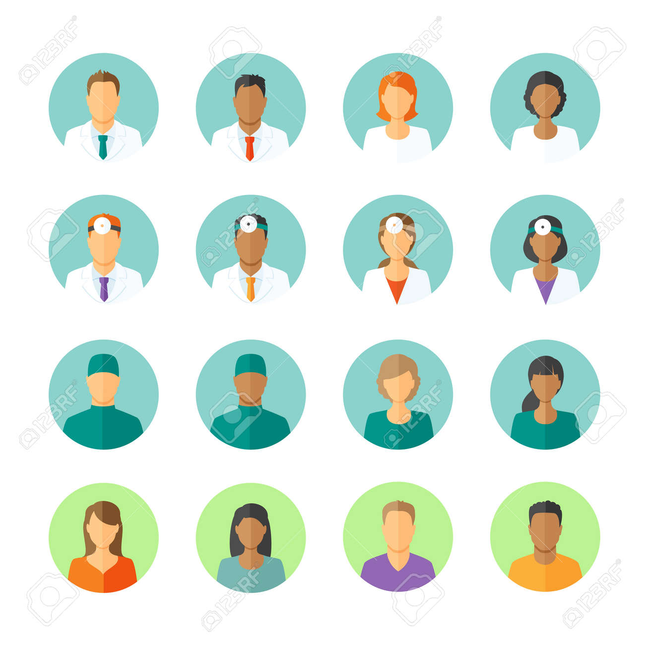 Set of round avatars different medical stuff like general doctor, therapist, surgeon and otolaryngologist. Also icons of patients for medical forum - 39380165